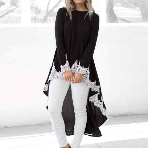 Casual Irregular T shirt Women Autumn Long Sleeve O Neck Tops&Tees Elegant Lace Patchwork Streetwear T-Shirt Plus Size