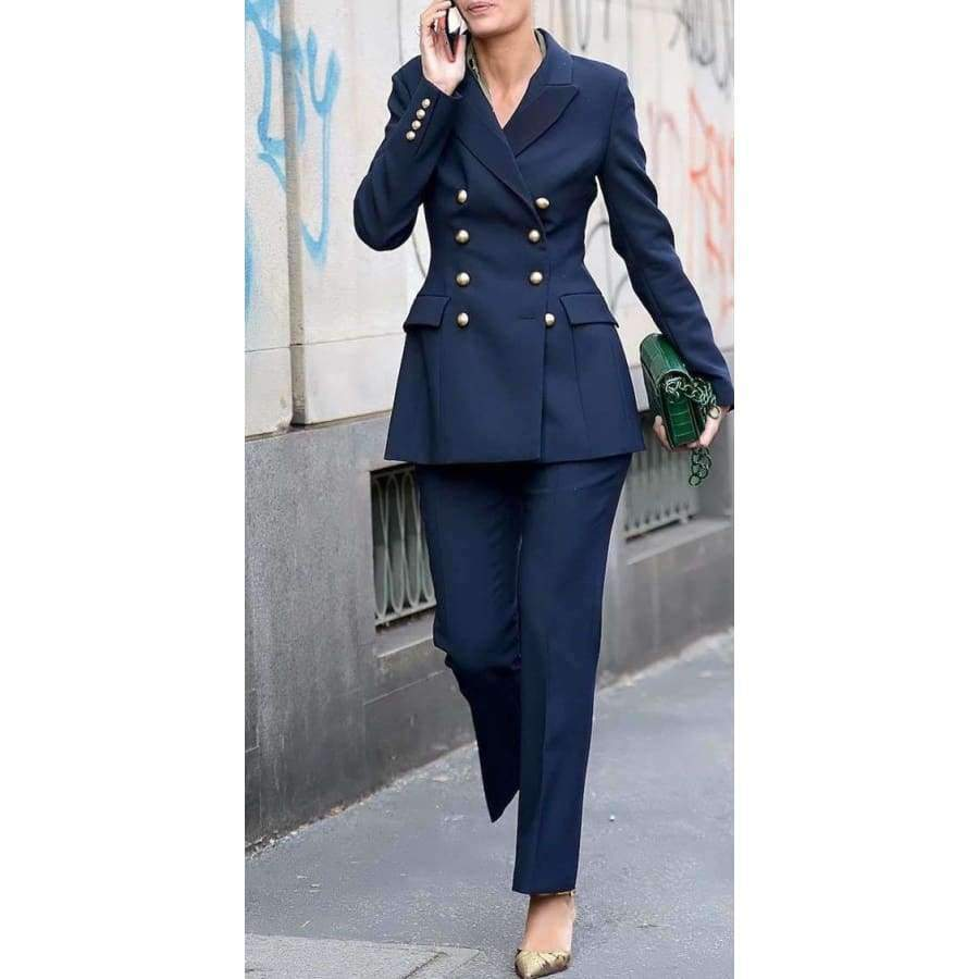 Fashion Simple Double Breasted Blazer Two Piece Slim Womens Business