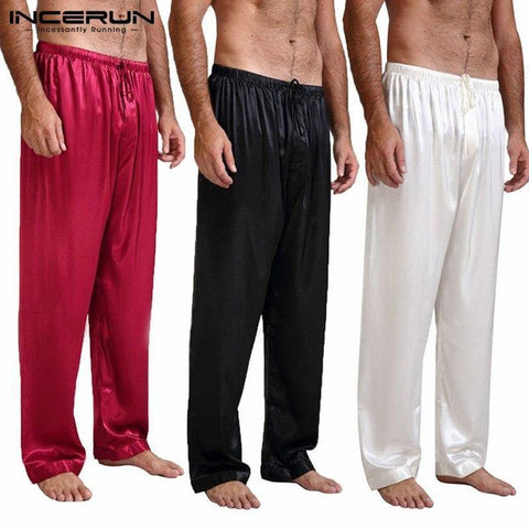 Planet Gates Red / S Silk Satin Pajamas Sleep Bottoms Pyjamas Loose Lounge Pants Casual Leisure Lantern Pants Plus Size S-3XL
