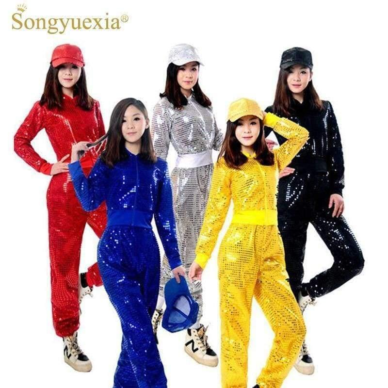 Planet Gates Red trousers / S Adult Jazz Hiphop Modern Dance Wear Paillette Stage Performance Clothing woman sequins Cheerleading dance costuems