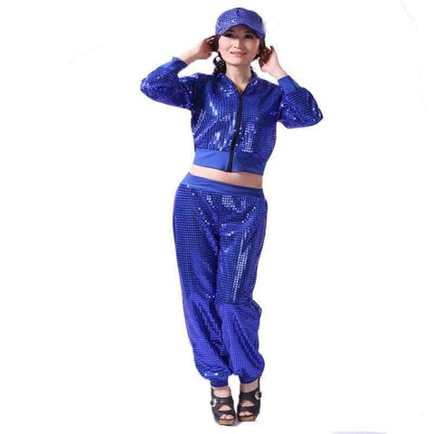Image of Planet Gates Red trousers / S Adult Jazz Hiphop Modern Dance Wear Paillette Stage Performance Clothing woman sequins Cheerleading dance costuems