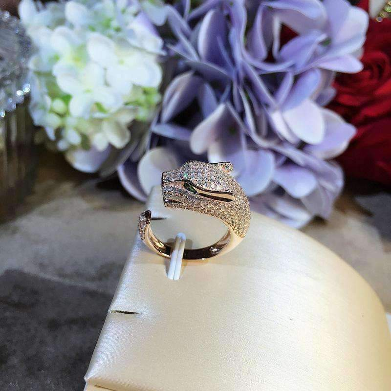 Planet Gates Resizable / Rose Gold Color animal ring,S 925 sterling silver AAA zirconia leopard rings,rose gold/gold/silver fashion panther jewelry women accessories