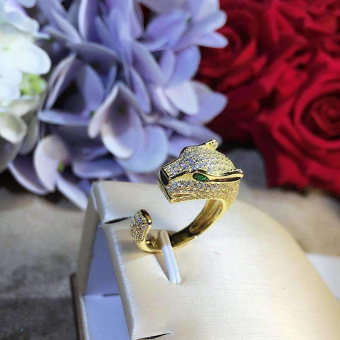Image of Planet Gates Resizable / Rose Gold Color animal ring,S 925 sterling silver AAA zirconia leopard rings,rose gold/gold/silver fashion panther jewelry women accessories