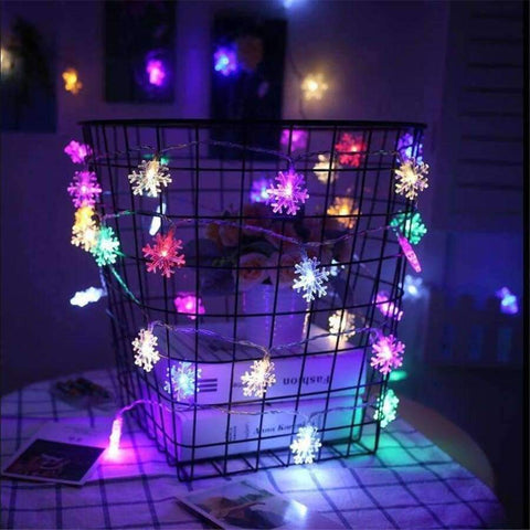 Image of Planet Gates RGB / 220V AC220V 10M 50LED Christmas lights snowflake lamp holiday lighting for outdoor/wedding party decoration curtain string lights