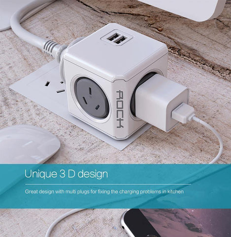 Planet Gates ROCK Phone Charger Four Power Plug Dual USB Port Charger Socket for iPhone/ Samsun Tablets with USB Cable