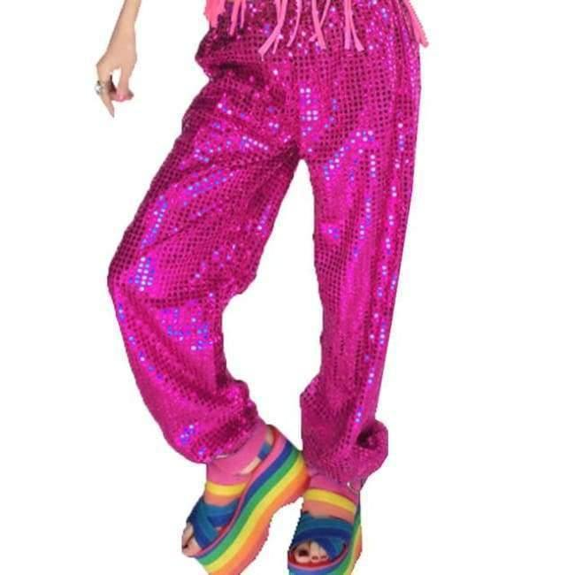 Planet Gates rose pants / S Adult Jazz Hiphop Modern Dance Wear Paillette Stage Performance Clothing woman sequins Cheerleading dance costuems