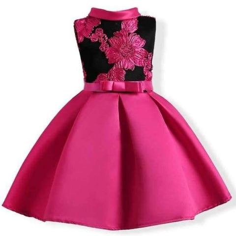 Planet Gates rose Red 1 / 2T Baby Girl embroidery Silk Princess Dress for Wedding party Kids  Dresses for Toddler Girl Children Fashion Christmas Clothing