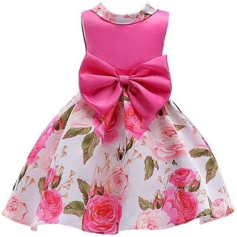 Planet Gates rose Red 3 / 2T Baby Girl embroidery Silk Princess Dress for Wedding party Kids  Dresses for Toddler Girl Children Fashion Christmas Clothing