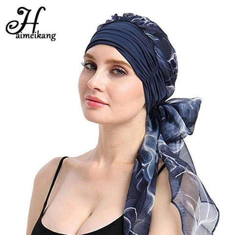 Image of Planet Gates Royal Blue Haimeikang 2018 New Women Chemo Cap Turban Long Hair Band Scarf Head Wraps Hat Boho Pre-Tied Bandana Hair Accessories for Women