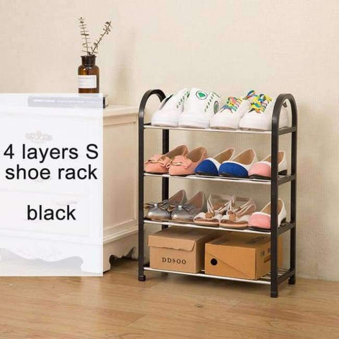 Planet Gates S 4layers black Multiple layers Shoe Rack Plastic parts Steel Pipe Shoes Shelf Easy Assembled Storage Organizer Stand Living Room Furniture
