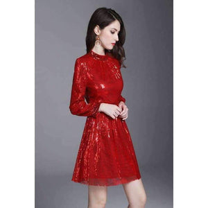 European Style Dress 2018 Summer Women Stand Collar Allover Lux Sequined Long Sleeve Red Party Event Dress Vestidos Fiesta
