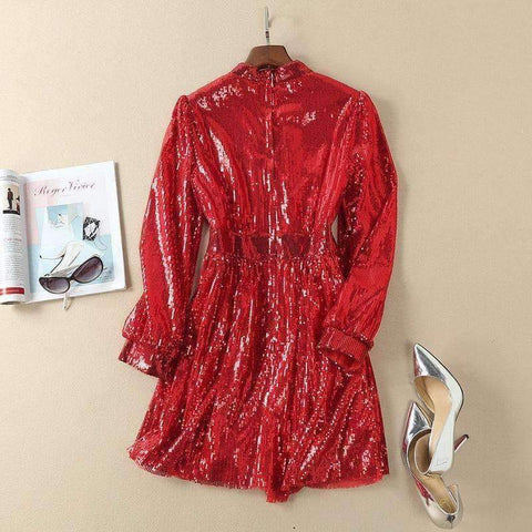 Planet Gates S European Style Dress 2018 Summer Women Stand Collar Allover Lux Sequined Long Sleeve Red Party Event Dress Vestidos Fiesta