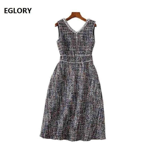 Planet Gates S Vestidos De Festa 2018 Fall Winter Party Ladies Sexy V-Neck Pearl Beading Sleeveless A-Line Warm Thick Wool Dress Event
