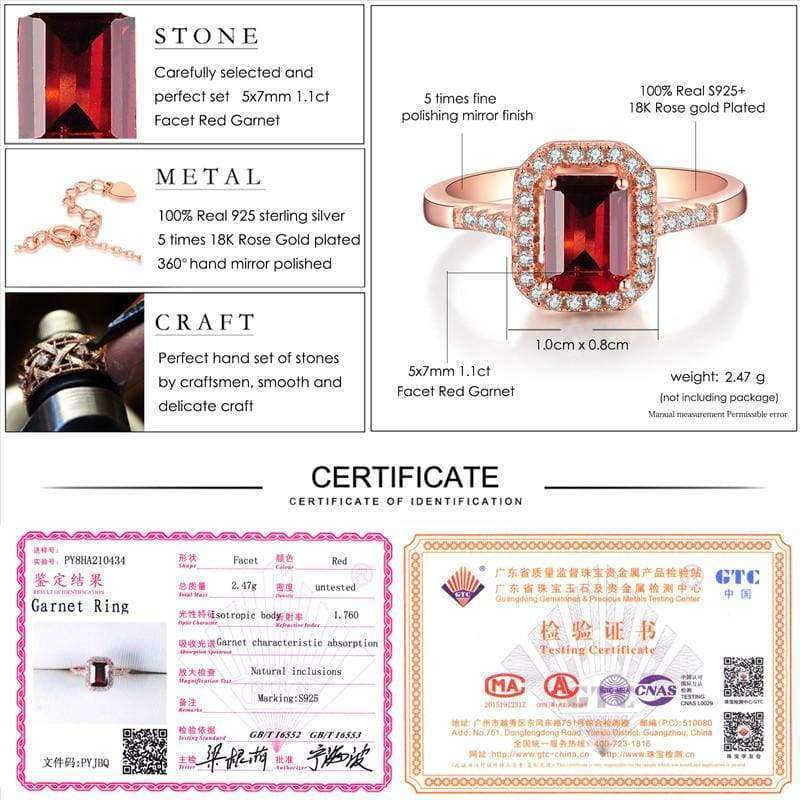 Planet Gates S.VEX Rose Gold Color Genuine 925 Sterling Silver Rings Red Natural Gomestone Fashion Jewelry for Women Gift