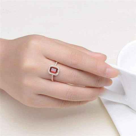 Image of Planet Gates S.VEX Rose Gold Color Genuine 925 Sterling Silver Rings Red Natural Gomestone Fashion Jewelry for Women Gift