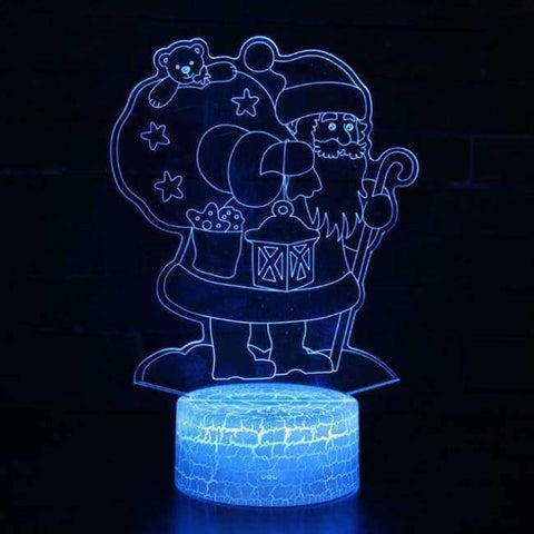 Planet Gates Santa Claus / Touch 7 colour HQXING New Arrival Snow man/Santa Claus Panel Acrylic 3D LED Christmas Tree Lamp Night Light Desk Gift Hot Sell Drop Shipping