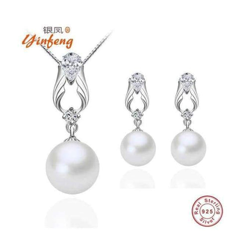 Planet Gates set round pearl / White / 45cm [MeiBaPJ]925 Sterling Silver Angel Wings Freshwater Cultured Pearl Jewelry Sets White Zircon Wedding Engagement Jewelry