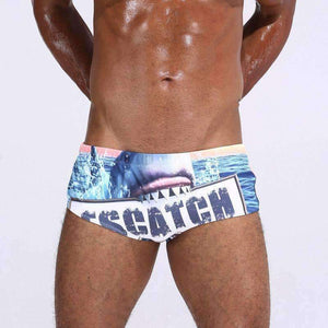 Planet Gates Sharks / M Escatch Men Swimwear Low Sexy Boxers Men's Swim Brief Sportive Beachwear Shorts Sunga Man Swimsuit