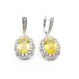 Planet Gates Silver 925 Bridal Jewelry Women Yellow Stones White Zircon Earrings Free shipping