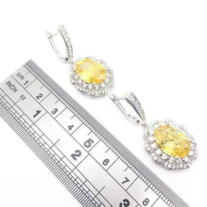Silver 925 Bridal Jewelry Women Yellow Stones White Zircon Earrings Free shipping