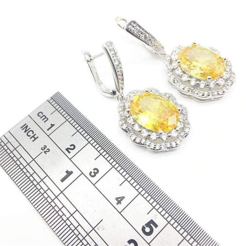 Image of Planet Gates Silver 925 Bridal Jewelry Women Yellow Stones White Zircon Earrings Free shipping