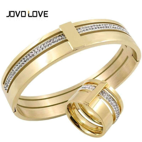 Planet Gates silver bangle JOVO Luxury Wedding Jewelry Set Bracelet & Rings Set for Women Two Row Cubic Zirconia Jewelry Set for Wedding Gift