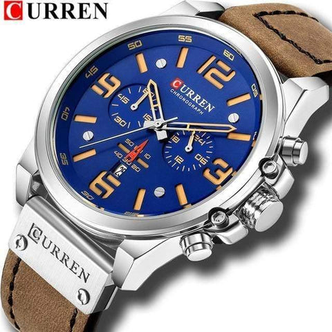Planet Gates silver blue Mens Watches Top Luxury Brand Waterproof Sport Wrist Watch Chronograph Quartz Military Genuine Leather Relogio Masculino