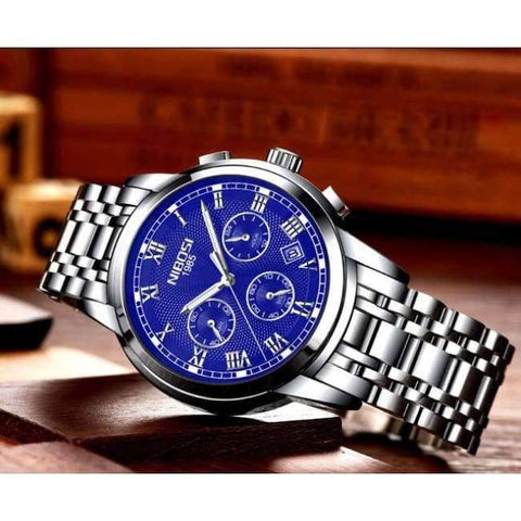 Planet Gates silver blue steel Relogio Masculino NIBOSI 2018 Mens Watches Top Brand Luxury Watch Men Casual Date Business Male Wristwatches Clock Montre Homme