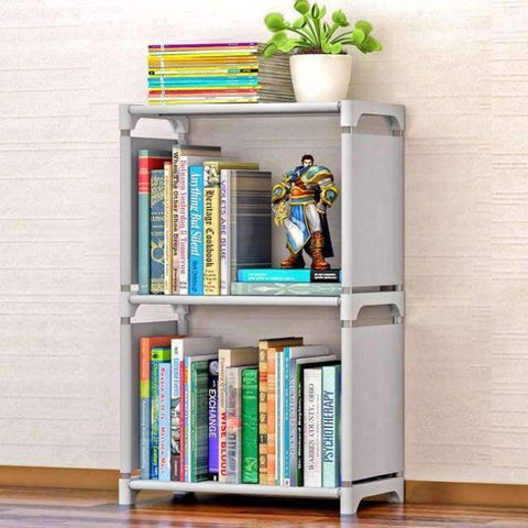 Planet Gates Silver Gray Minimalist Modern Creative Home Decoration Removable Assembly 2 Grids Stainless Steel Book Shelf Living Room Storage Furniture