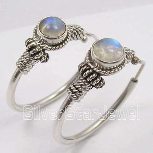Planet Gates Silver MOONSTONE TRIBAL INDIA dangle Earrings 3.1CM