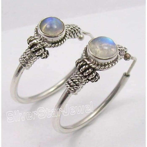 Image of Planet Gates Silver MOONSTONE TRIBAL INDIA dangle Earrings 3.1CM