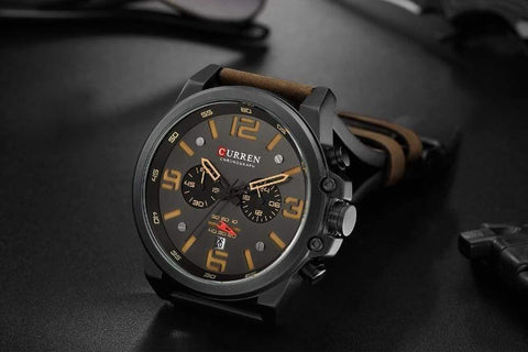 Planet Gates silver white Mens Watches Top Luxury Brand Waterproof Sport Wrist Watch Chronograph Quartz Military Genuine Leather Relogio Masculino