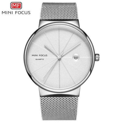 Planet Gates SILVERWHITE 1 MINI FOCUS Men Watches 2018 Luxury Brand Quartz Clock Ultra Thin Blue Mesh Strap Date Display Fashion Concise Wristwatch + BOX