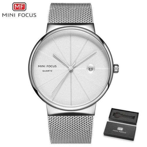 Planet Gates SILVERWHITE MINI FOCUS Men Watches 2018 Luxury Brand Quartz Clock Ultra Thin Blue Mesh Strap Date Display Fashion Concise Wristwatch + BOX