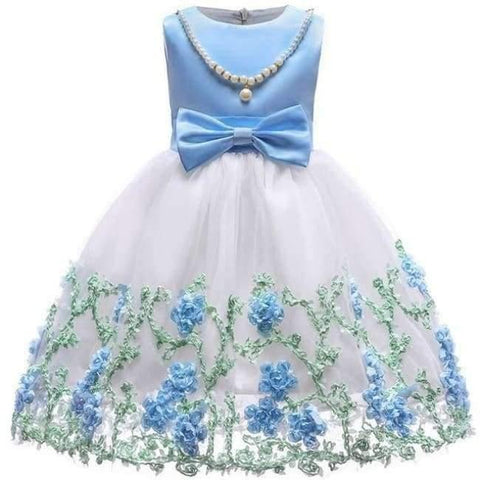 Planet Gates Sky blue 4 / 2T Baby Girl embroidery Silk Princess Dress for Wedding party Kids  Dresses for Toddler Girl Children Fashion Christmas Clothing