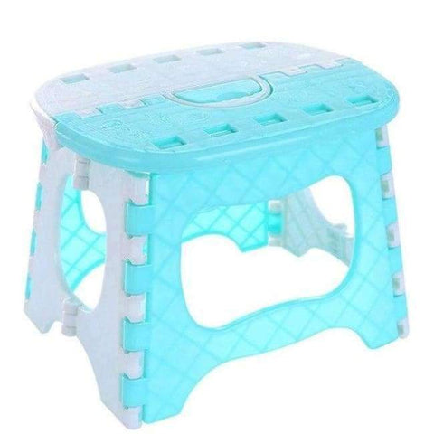 Planet Gates Sky Blue Plastic Folding Stool with Handle Portable Lightweight Outdoor Indoor Folding Stool for Adults Kids Great for Kitchen