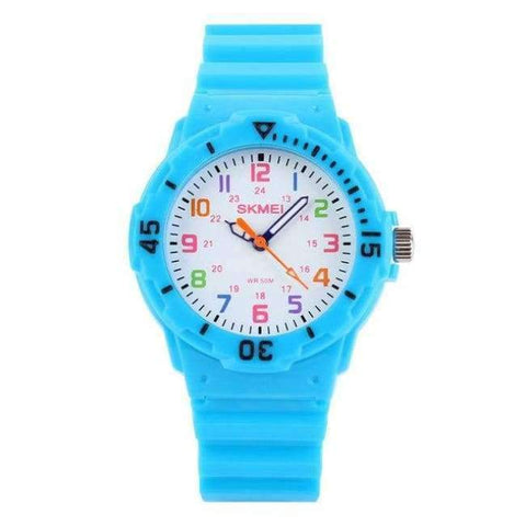 Planet Gates Sky Blue SKMEI Fashion Children Watches 50M Waterproof Quartz Wristwatches Jelly Kids Clock Hours Boys Girls Junior Students Sport Watch