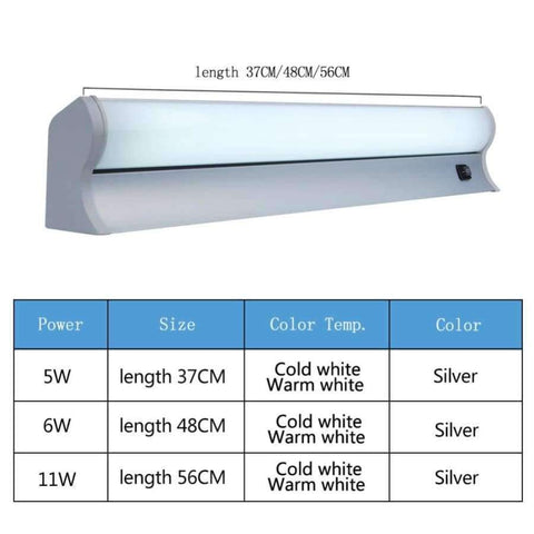 Planet Gates Sliver 5W 37CM / Cold White LED Mirror Light Wall Lamp with Switch Modern Sconce Waterproof 5W 11W Indoor  Decor Lighting Fixture Makeup Bathroom 220V 110V