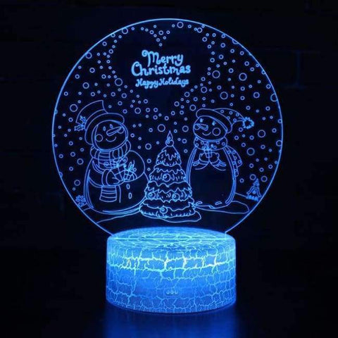 Planet Gates Snow Man / Touch 7 colour HQXING New Arrival Snow man/Santa Claus Panel Acrylic 3D LED Christmas Tree Lamp Night Light Desk Gift Hot Sell Drop Shipping