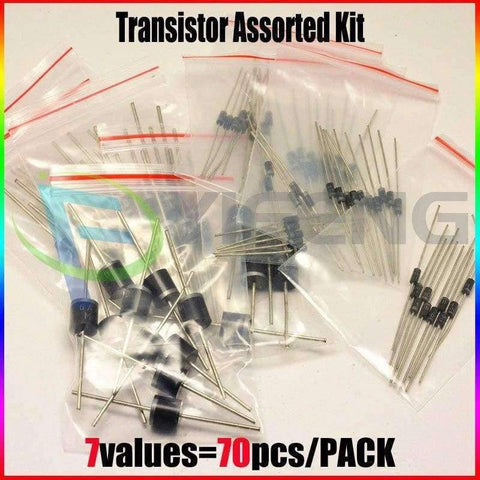 Planet Gates SR160,SR260,SR360,SR540,SR560,SR5100,SR5200 ,DIP 7values=70pcs, Each 10pcs,Electronic Components Package,Diode Assorted Kit