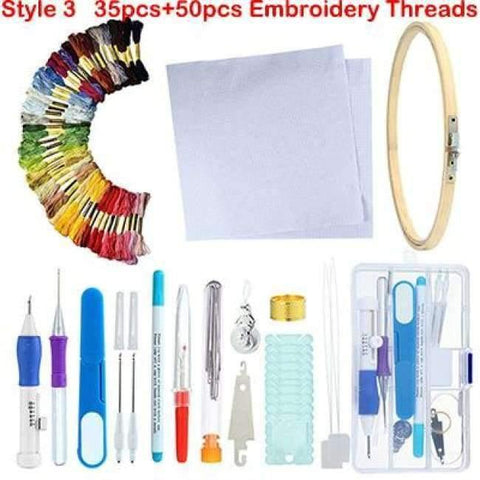 Image of Planet Gates style 3 Embroidery Stitching Punch Needle Tool Sets Magic Embroidery Stitching Punch Pen With Case DIY Craft Sewing Tool for Embroidery