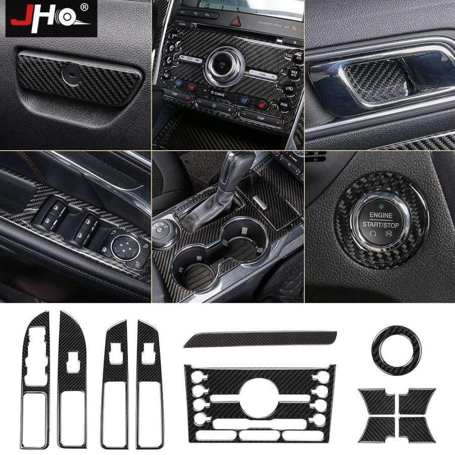 Planet Gates Style9-2016-2017 JHO Carbon Fiber Trim Interior Covers Cup Holder Panel Window Door Handle Stickers For Ford Explorer 2013-2017 Car Accessories