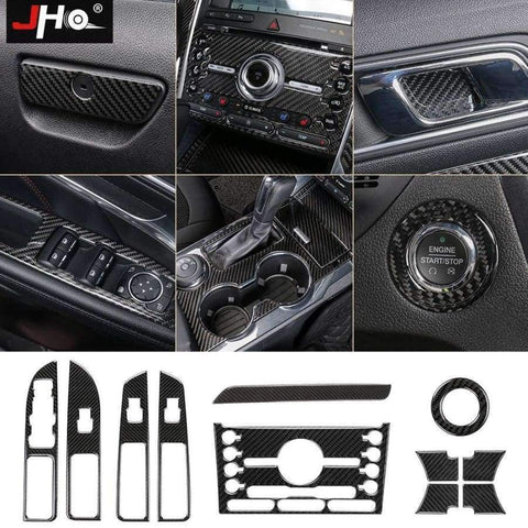 Image of Planet Gates Style9-2016-2017 JHO Carbon Fiber Trim Interior Covers Cup Holder Panel Window Door Handle Stickers For Ford Explorer 2013-2017 Car Accessories