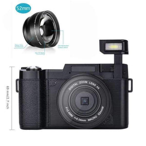 New DLSR 24MP Wide angle lens Digital Photo Video Camera Camcorder 4X Digital Zoom Rotatable Screen fisheye lens UV lens Camera