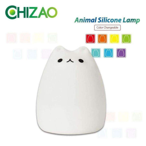 Planet Gates Touch control CHIZAO 7 Colors Cat LED Lamp Children's animal night light Silicone soft cartoon lamp Gift LED night light Room atmosphere light