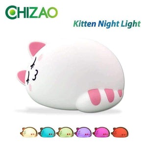 Planet Gates Touch Control CHIZAO Cartoon cat child lamp Children Animal LED Night Light Silicone Soft body USB Charging Room Breathing lighting Toy light