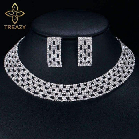 Planet Gates TREAZY Luxury Crystal Bridal Jewelry Sets Silver Color Rhinestone Choker Necklace Wedding Engagement Jewelry Sets for Women