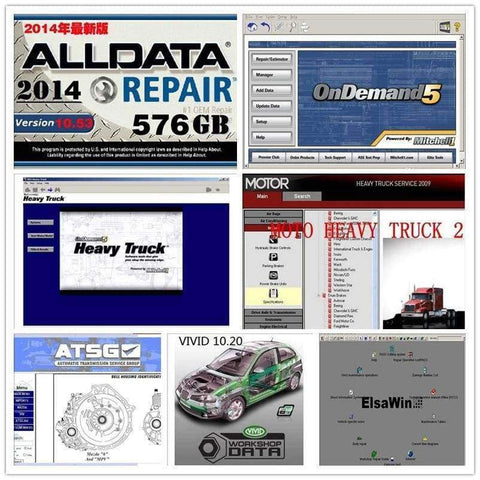 Planet Gates truck and car software alldata 10.53 mitchell ondemand + motor heacy truck service auto Manual 27in1 1000GB hdd Hard disk USB