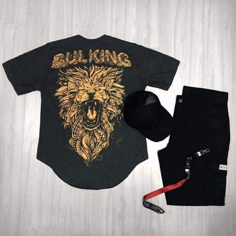 Image of Planet Gates Tshirt Black / M Full Back Printing Lion Summer Short Sleeved T-shirt Men 2018 New Cotton Muscle Bodybuilding Train O-neck Shirt High-quality