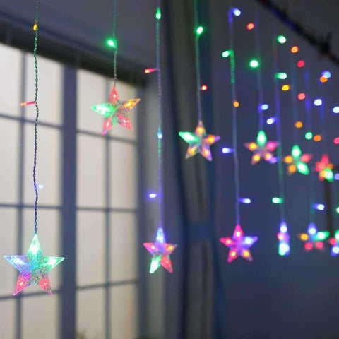 Image of Planet Gates Warm White / 6 big 6 small star JUNJUE Holiday Lighting LED Fairy Star Curtain String luminarias Garland Decoration Christmas Wedding Pentagram String Light